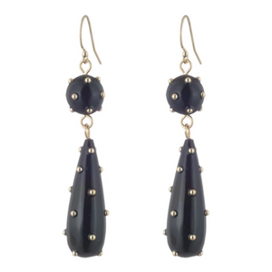 Lulu Frost Black and Gold Trafero Wire Earring at Loulerie