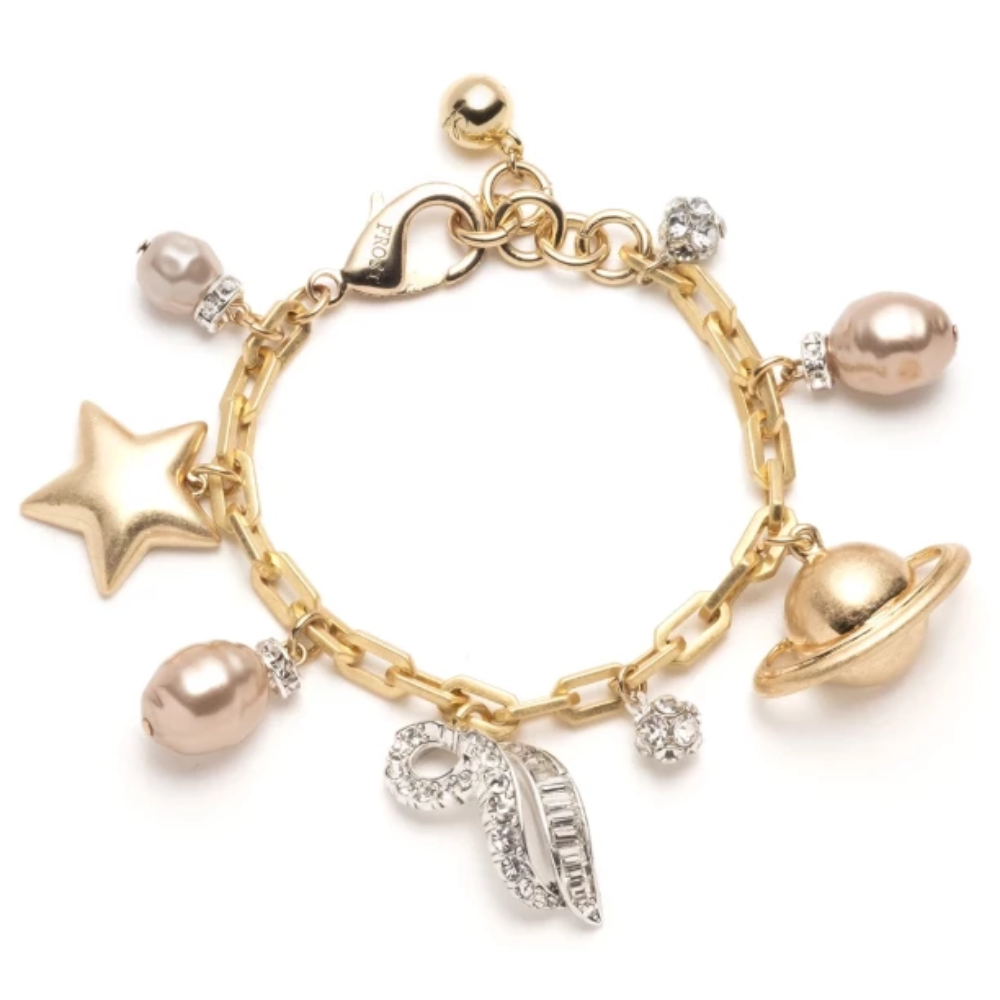 Lulu Frost Saturn Charm Statement Bracelet Gold and Silver Plated