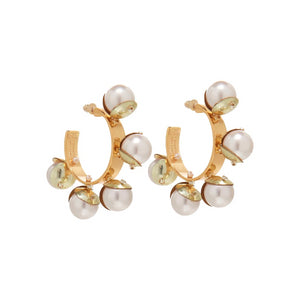 Mignonne Gavigan Pearl and Sequin Detail Mini Delfina Hoop Earrings Gold