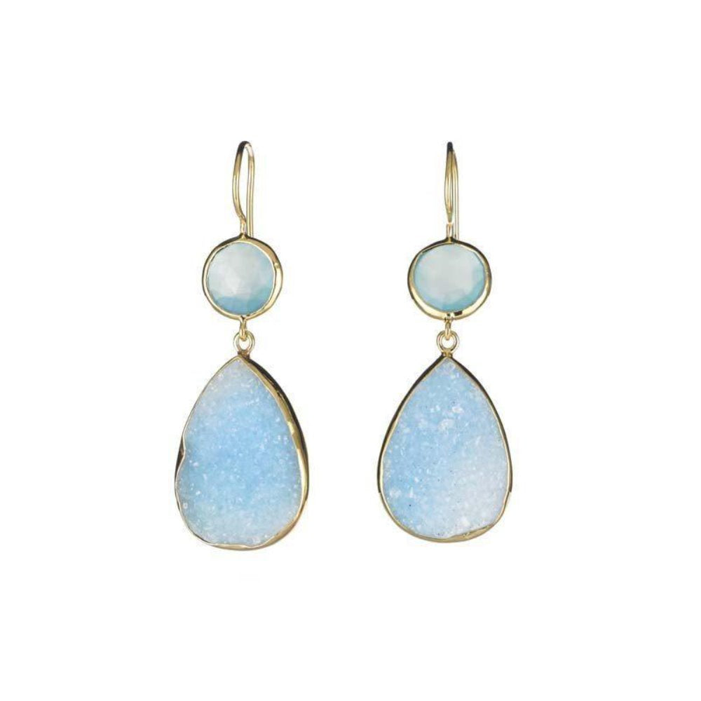 Margaret Elizabeth Blue Druzy Earrings | Stone Hand Cut | Gold Vermeil | Stone Semi-Precious