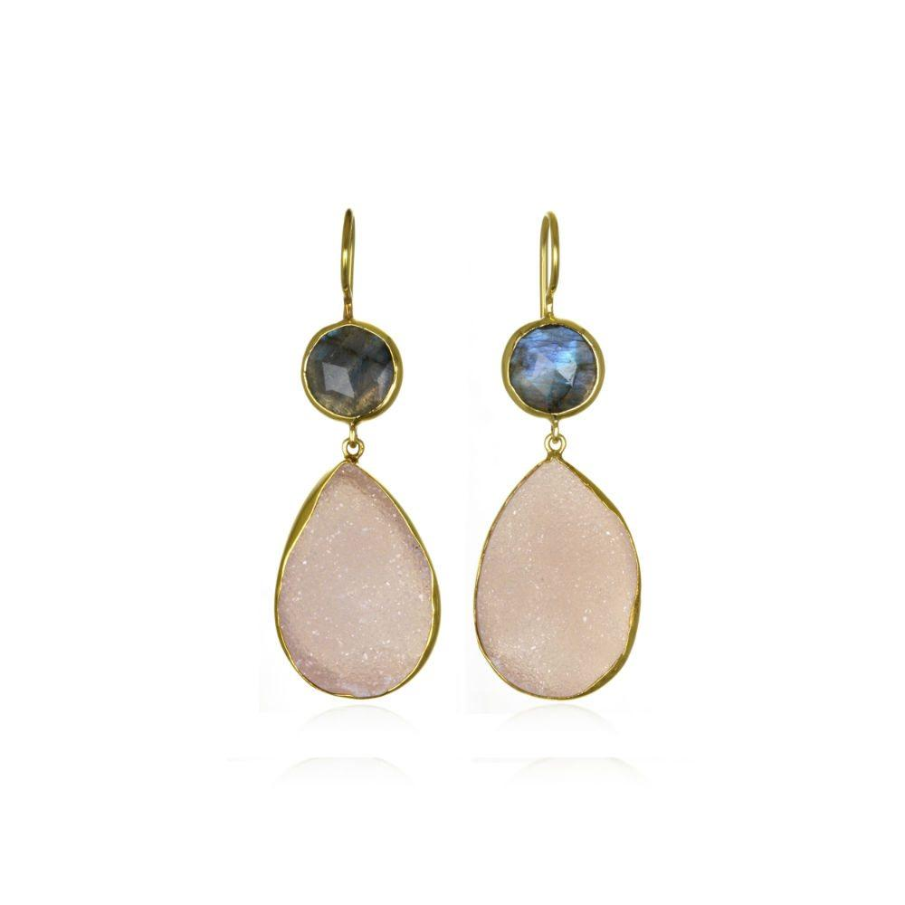 Margaret Elizabeth Pink Druzy and Labradorite Earrings
