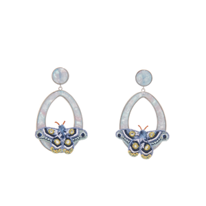 Mignonne Gavigan Blue Atlas Moth Swing Earring | Butterflies | Baby Blue | Gold Plate