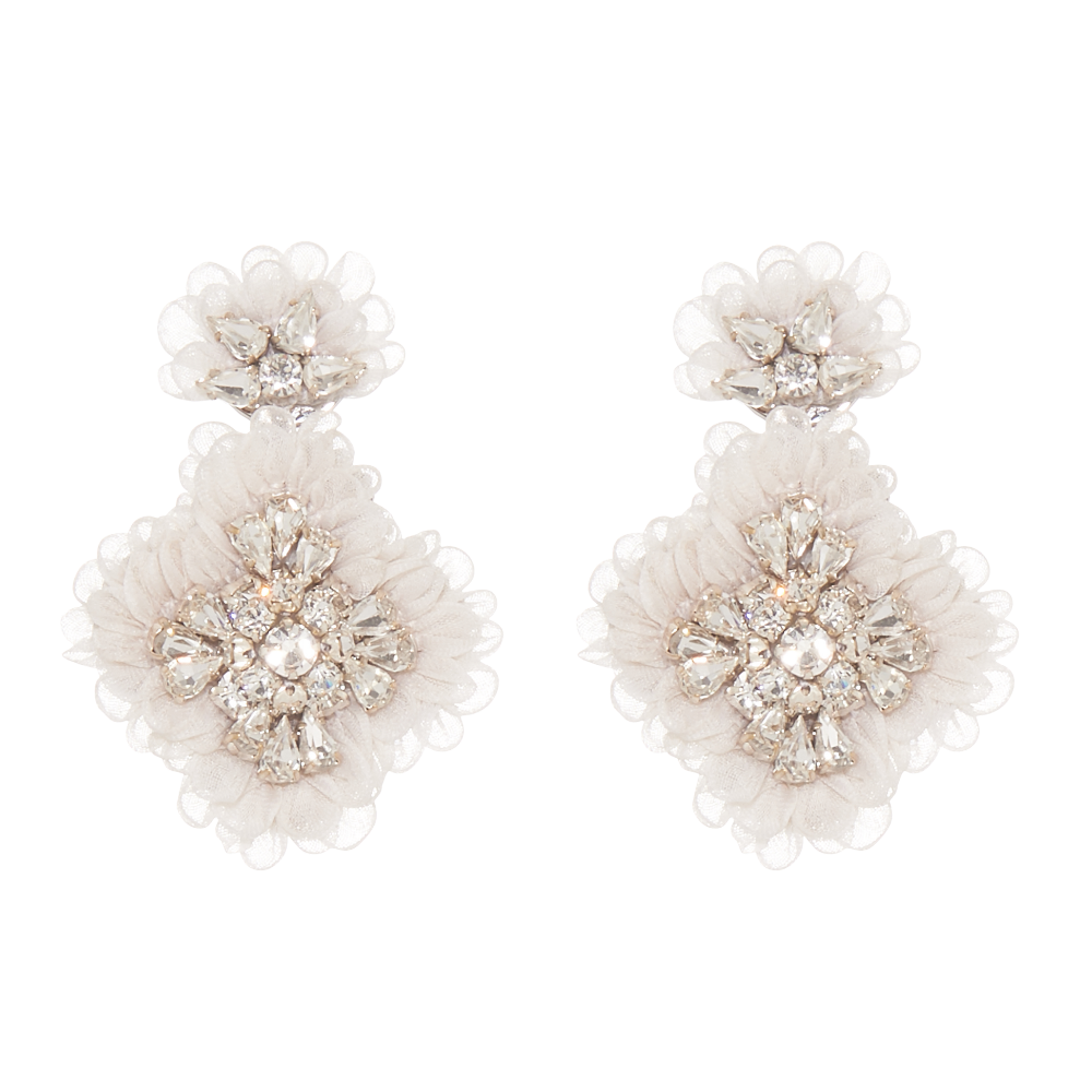 Mignonne Gavigan Ivory Mila Earrings | Bridal Edit | Ivory Silk & Crystals