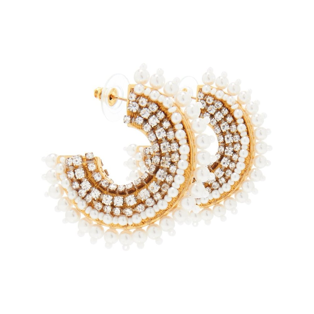 Mignonne Gavigan Mini Pearl Fiona Hoops | Gold Plate | Pearls & Sequins