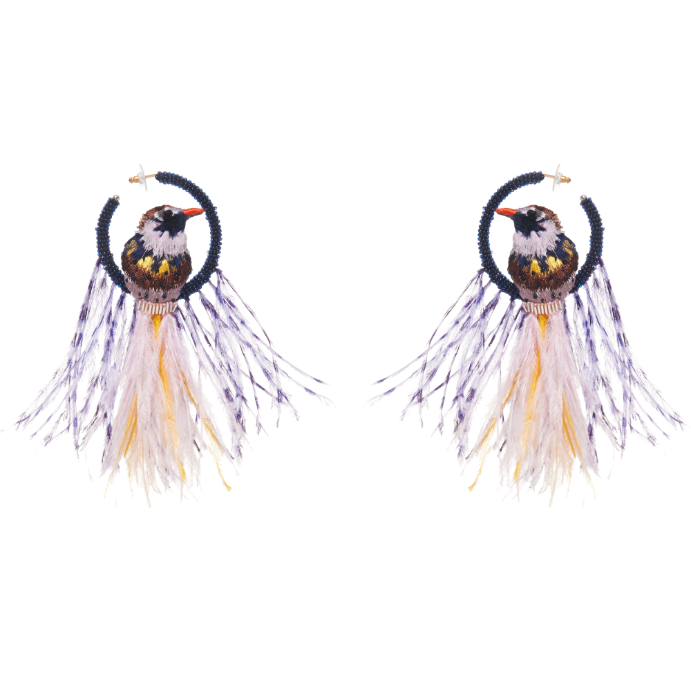 Mignonne Gavigan Woodpecker Lux Hoop | Feather | Gold Fill