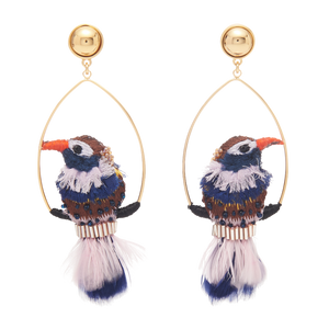 Mignonne Gavigan Woodpecker Swing Earring | Gold Plate | Bird Earrings | Leather