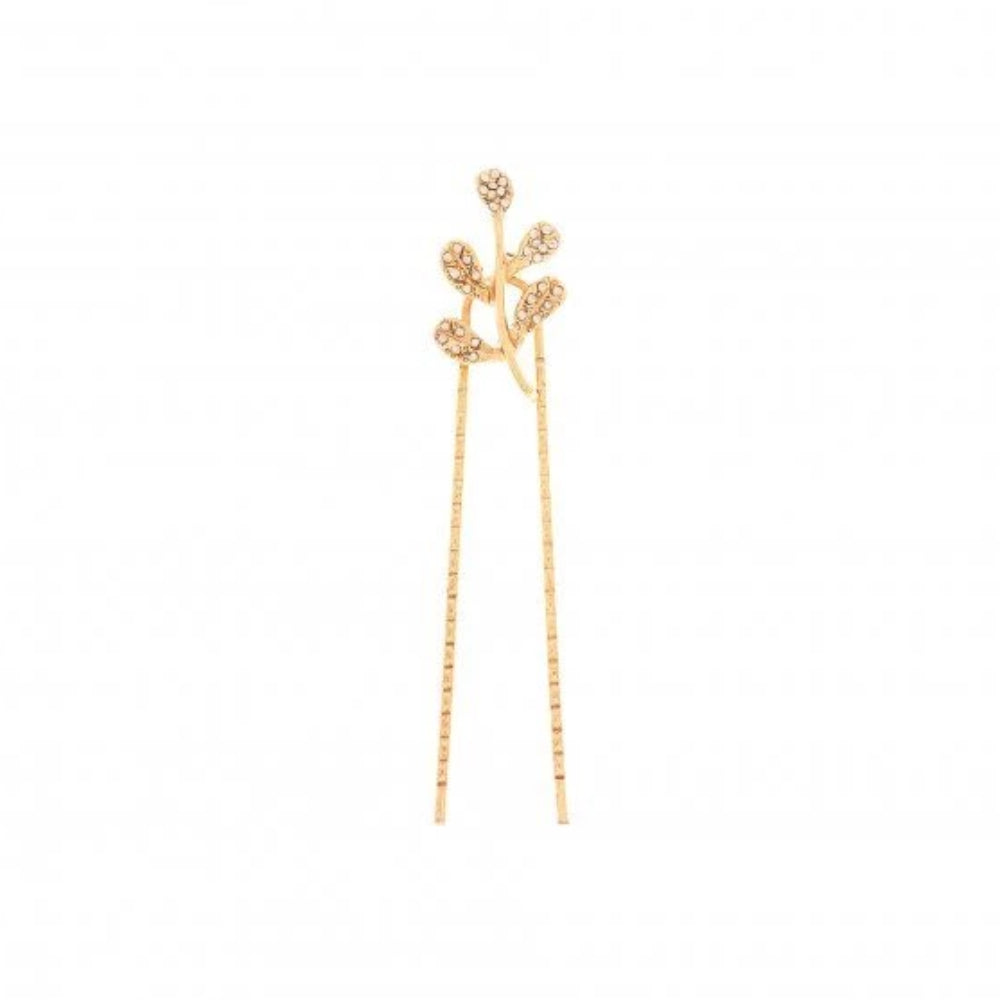 Oscar de la Renta Crystal Leaf Hair Pin