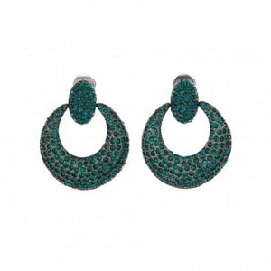 Oscar de la Renta Emerald Pave Knock Hoop Earrings