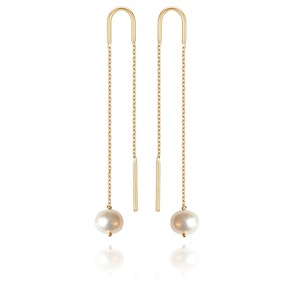 Perle de Lune Large Pearl Long Earrings | 18K Yellow Gold | Freshwater Pearls
