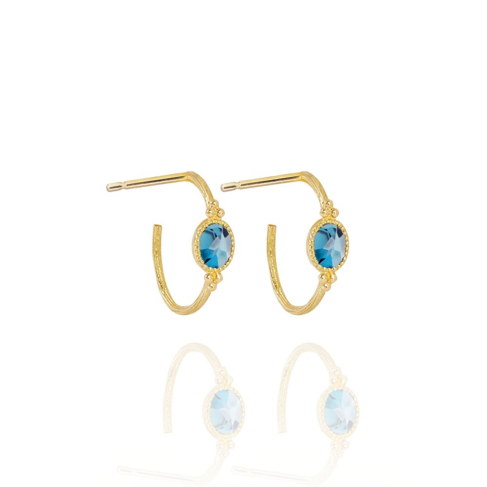 PERLE DE LUNE BLUE TOPAZ SMALL CREOLE OVAL EARRINGS