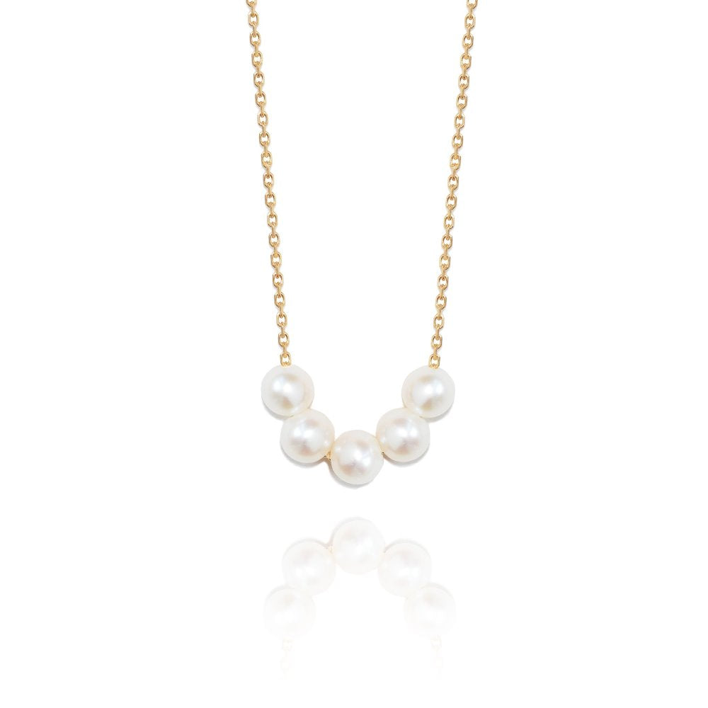 Perle de Lune 5 Pearl Necklace | 18K Gold Plate | Freshwater Pearls
