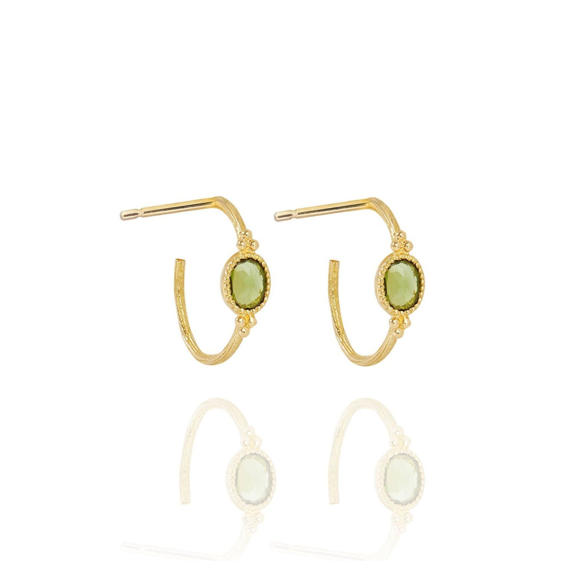 PERLE DE LUNE GREEN TOUMALINE SMALL CREOLE OVAL EARRING