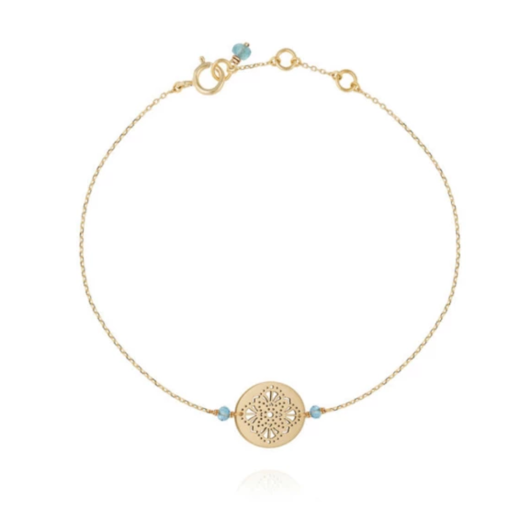 Perle De Lune Art Deco 9k Yellow Gold Bracelet Blue