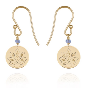 Perle De Lune Blue Purple Iolite Lotus Medal Small Earrings Yellow Gold