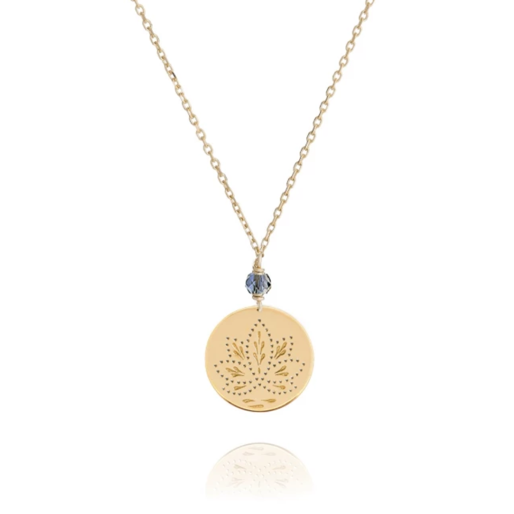 Perle De Lune Blue Purple Iolite Lotus Medal Necklace Yellow Gold