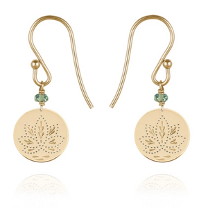 Perle De Lune Green Sapphire Lotus Medal Earrings Yellow Gold