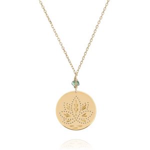 Perle De Lune Green Sapphire Lotus Medal Necklace Yellow Gold