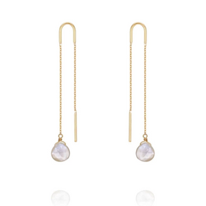 Perle De Lune Mother of Pearl Chain-Through Earrings 18k Gold