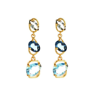 OSCAR DE LA RENTA CRYSTAL OFFSET EARRINGS