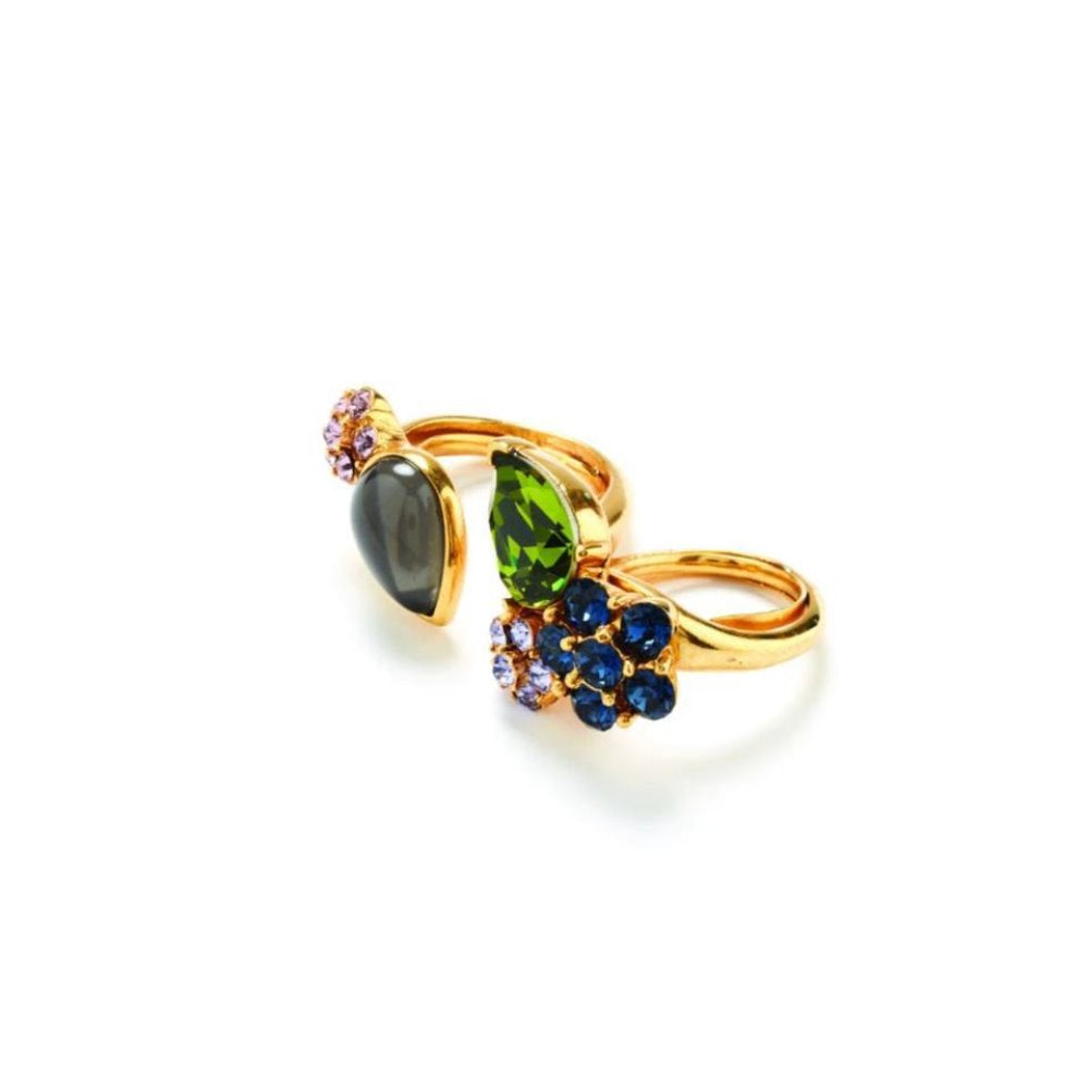 OSCAR DE LA RENTA CRYSTAL AND CABOCHON RING