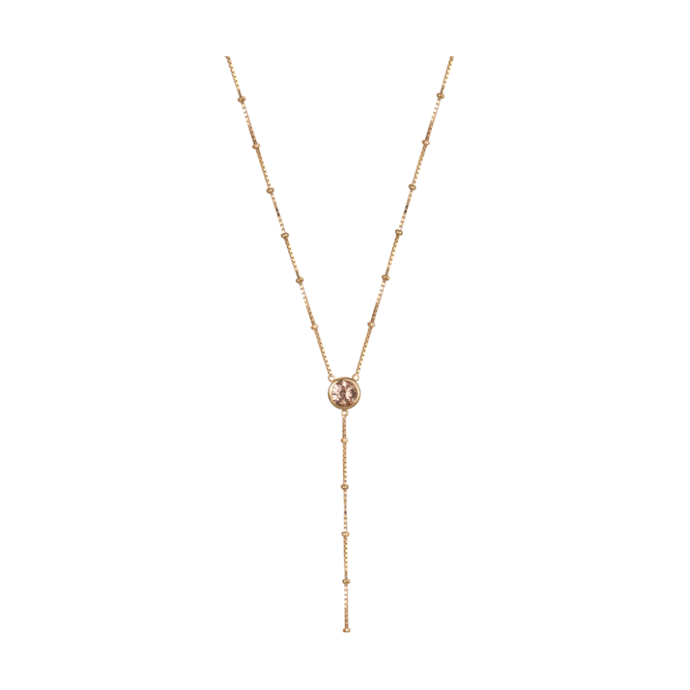 Rosie Fortescue Gold Dot Necklace | Champagne Cubic Zirconia Stones | Long Necklace | Gold Plate | Sterling Silver