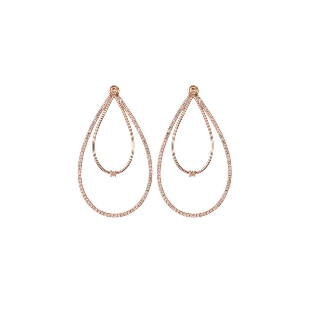 Rosie Fortescue Rose Gold Peardrop Hoop Earrings | Sterling Silver | Rose Gold Plate | Champagne Cubic Zirconia Stones
