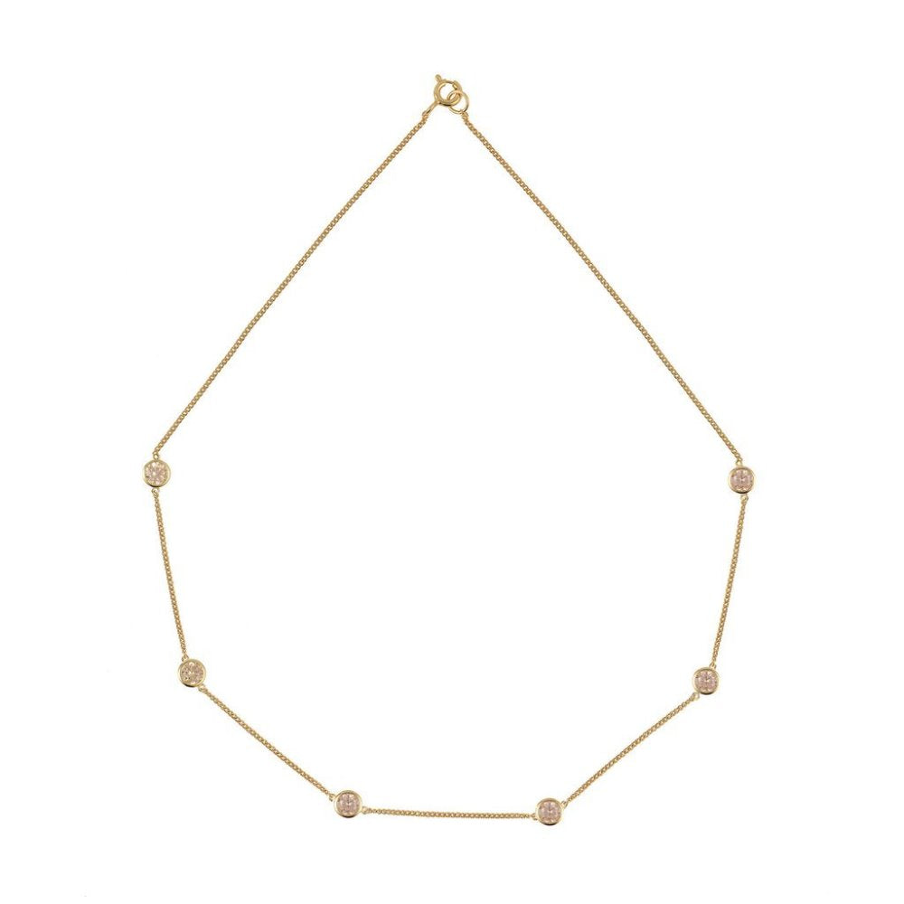 Rosie Fortescue Tight Chain Necklace | Champagne Cubic Zirconia Stones | Short Necklace | Gold Plate | Sterling Silver