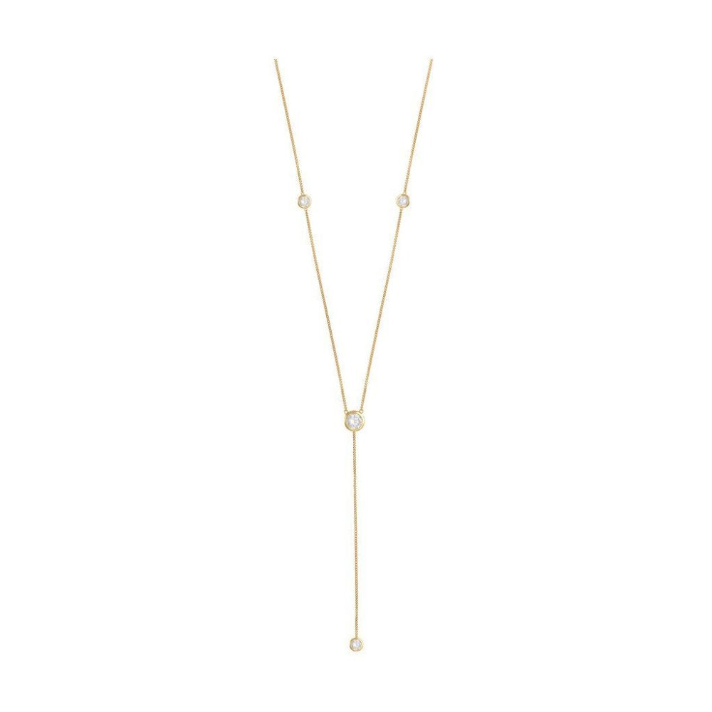 Rosie Fortescue Gold Deep V Necklace | Sterling Silver | Gold Plate | White Cubic Zirconia Stones