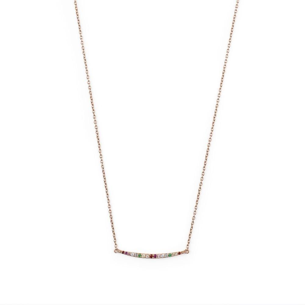 ROSIE FORTESCUE ROSE GOLD RAINBOW CURVE NECKLACE