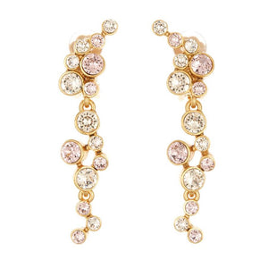 Oscar de la Renta Light Pink Round Crystal Earrings | Gold Brass | Long Earrings