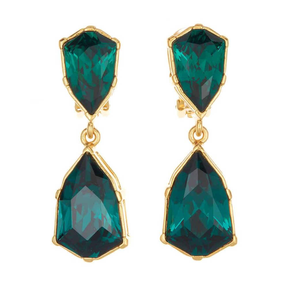 Oscar de la Renta Gallery Emerald Earrings | Gold Brass | Emerald