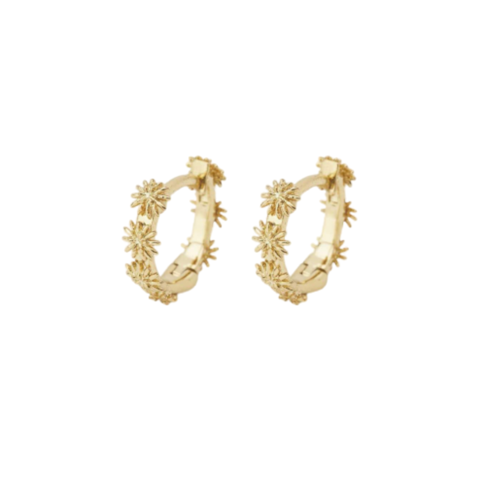 Gorjana Flora Huggies | 18K Gold Plating | Earrings Flowers
