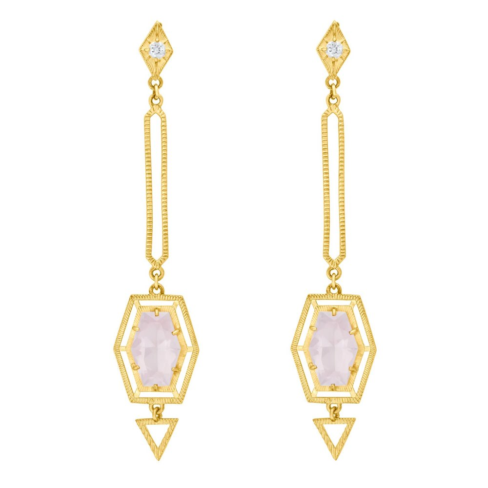 Zoe & Morgan Shanti Rose Quartz Sterling Silver with 22k Gold Plate Earrings