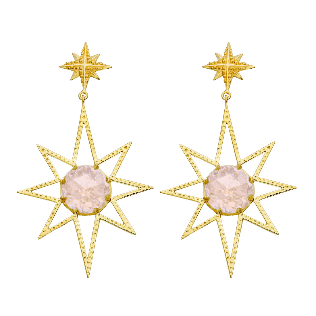 ZOE & MORGAN ROSE QUARTZ SUNBURST EARRING