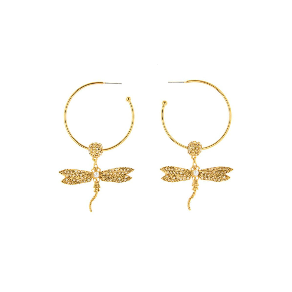 OSCAR DE LA RENTA CRYSTAL DRAGONFLY HOOP EARRINGS