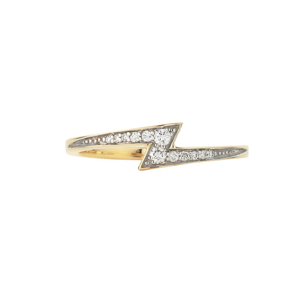 Zoe and Morgan 9k Gold Zap Diamond Ring