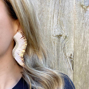 Mignonne Gavigan Ivory Rose Gold Madeline Earrings | Ivory | Leather | Rose Gold | Beads