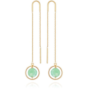 Perle De Lune Chrysoprase Pastille Ellipse Earrings 18k Gold
