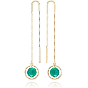 PERLE DE LUNE GREEN AGATE LONG CHAIN ELLIPSE EARRINGS