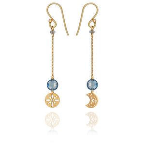 PERLE DE LUNE MOON AND SUN ASYMMETRIC EARRINGS