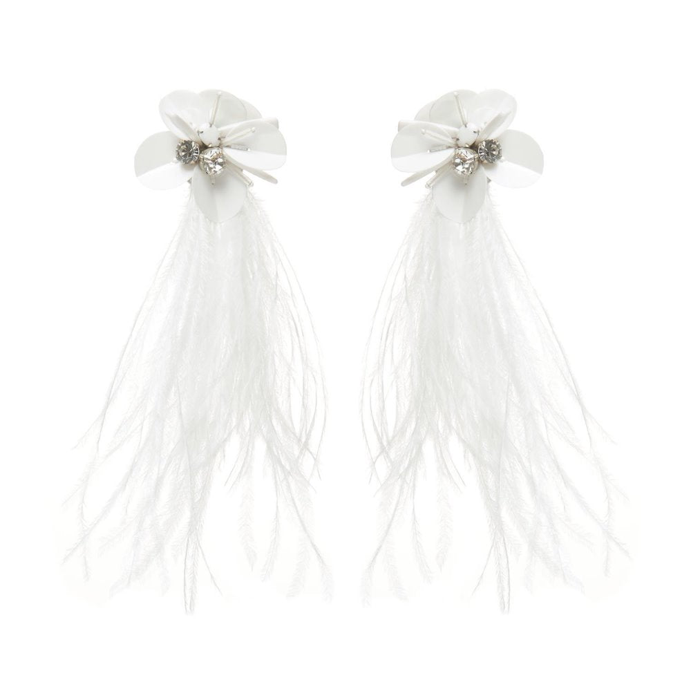 Mignonne Gavigan White Haley Statement Earrings | Gold Plate | Feather | Crystals