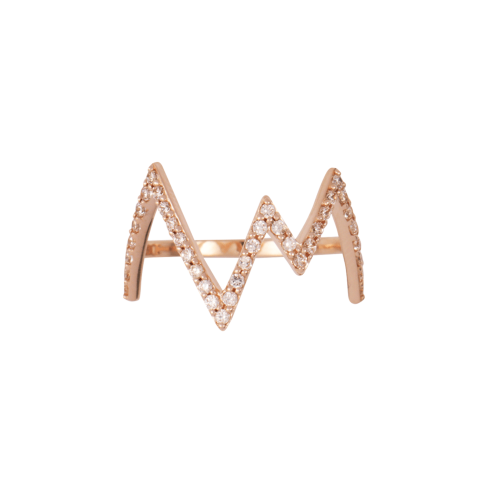 Rosie Fortescue Rose Gold Heartbeat Ring | Cubic Zirconia Stones