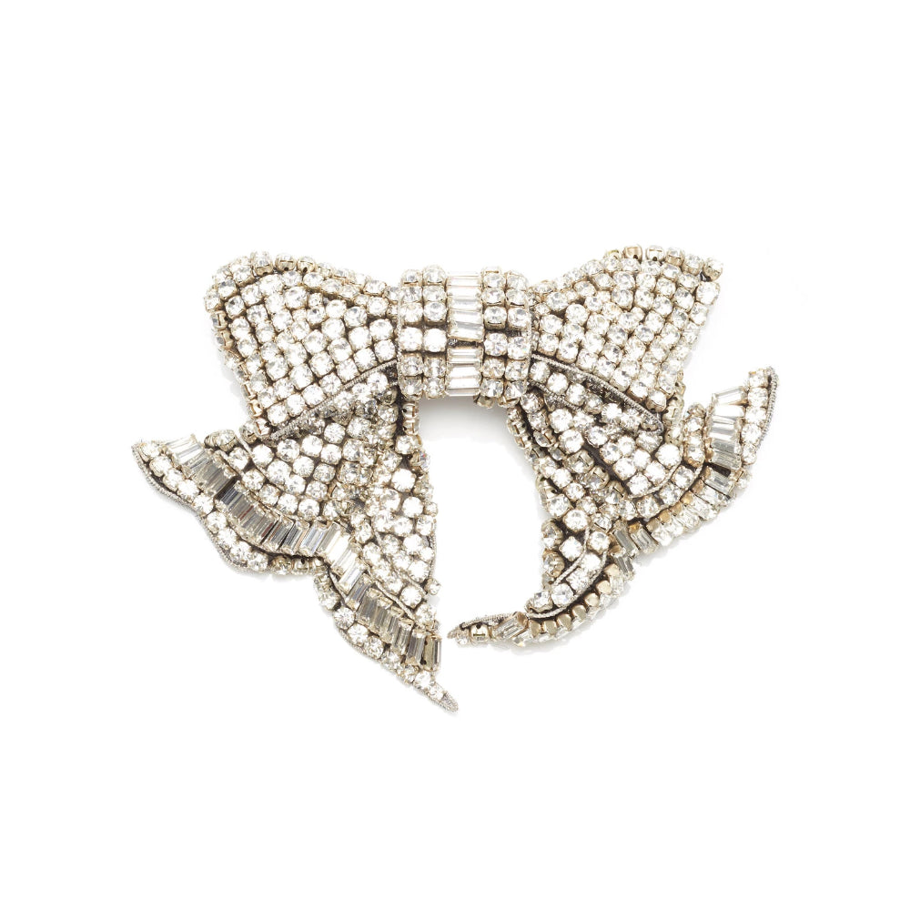 Mignonne Gavigan Silver Crystal Lexy Hairbow Clip Large