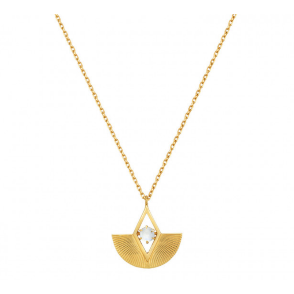 Zoe and Morgan 22K Gold Plate Moonstone Necklace