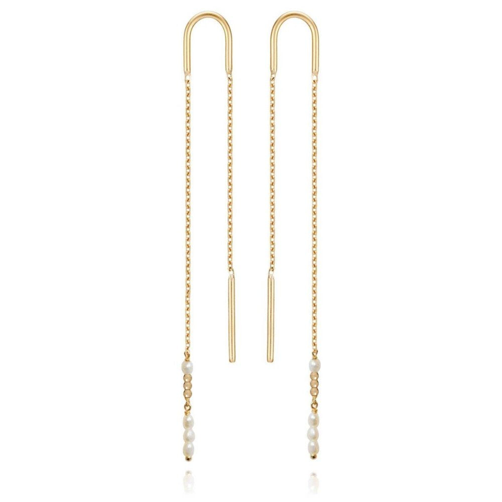 Perle de Lune Extra Long Pearl Earrings | 18K Yellow Gold | Freshwater