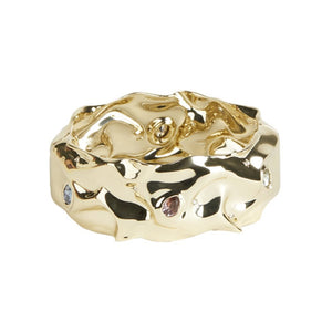 Alexis Bittar Stone Studded Crumpled Hinge Bracelet | Gold | Crystals Colours