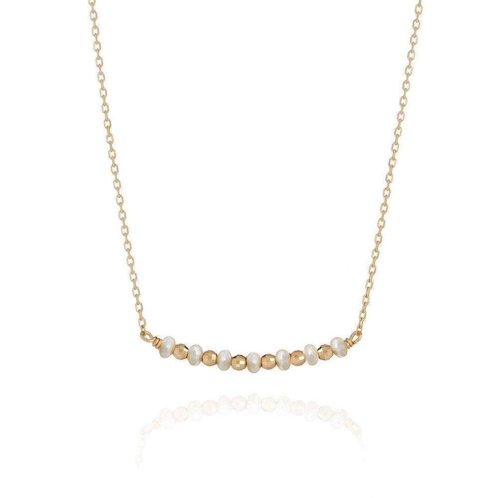 Perle de Lune Pearl Bar Necklace | 18K Gold Plate | Freshwater Pearls