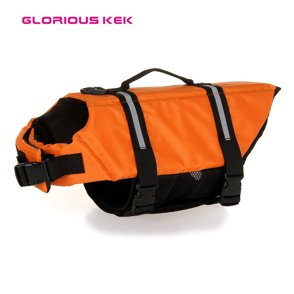 Pet Dog Lifevest Summer Safety&Comfortable Solid Color Large Dog Life Jacket with Reflective Piping XXS to XXL 7 Sizes