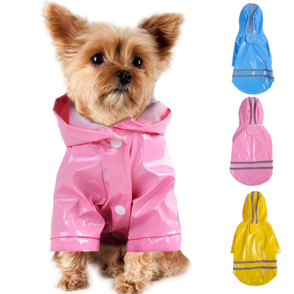 Summer Outdoor Puppy Pet Rain Coat S-XL Hoody Waterproof Jackets PU Raincoat for Dogs Cats Apparel Clothes Wholesale #F#40JE14