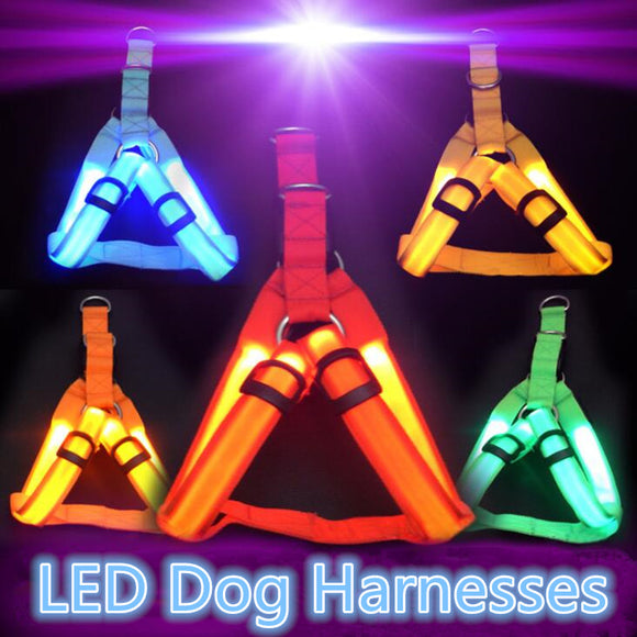 Nylon Pet Safety LED Harness Dog Product Flashing Light Harness LED Dog Harness Leash Rope Belt LED Dog Collar Vest Pet Supplies